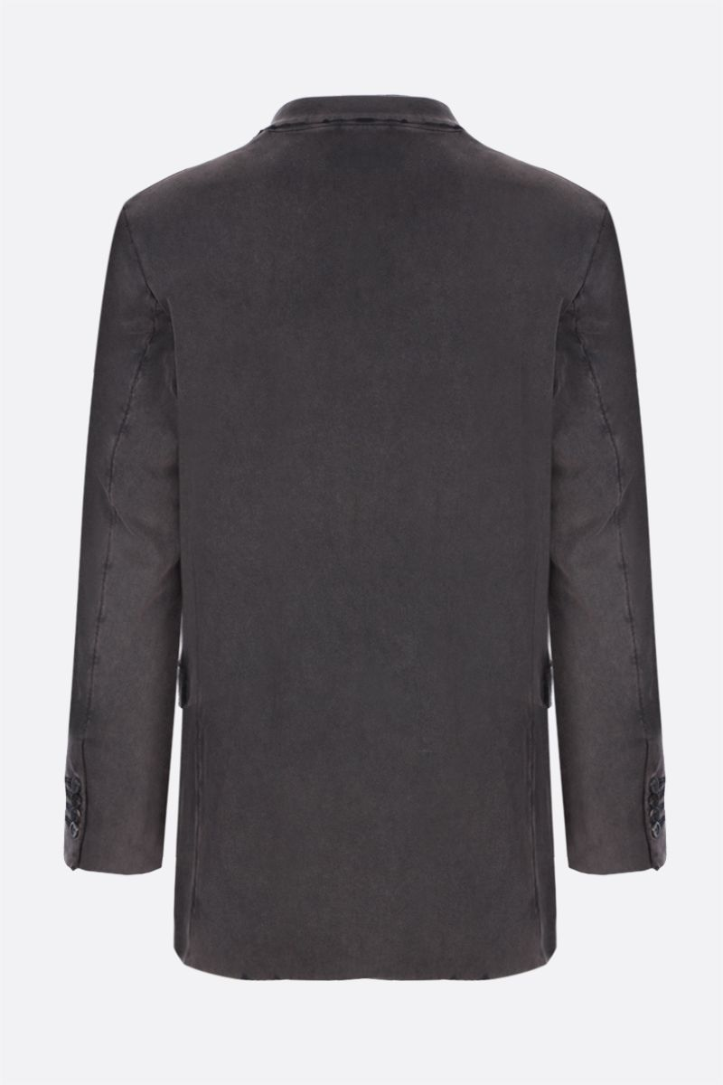BALENCIAGA: double-breasted distressed-effect cotton jacket Color Black_2
