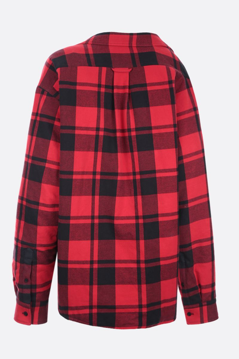 BALENCIAGA: flannel padded off-the-shoulder overshirt Color Red_2
