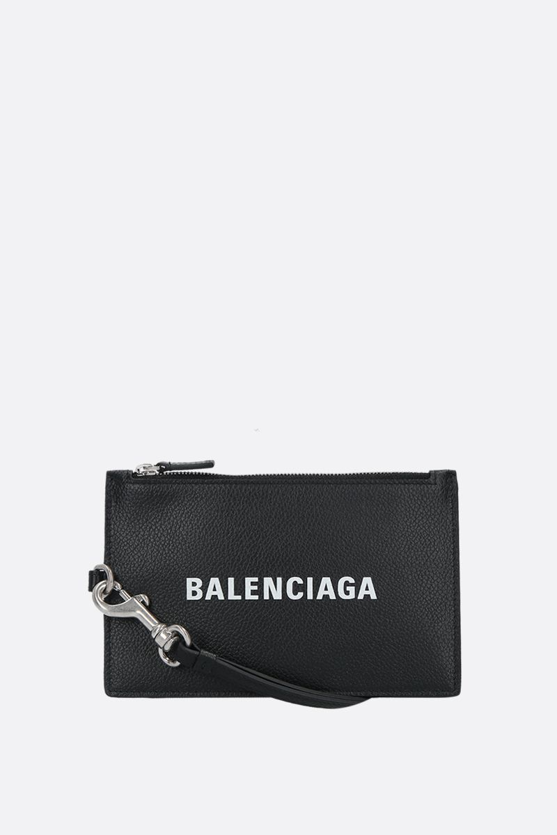 BALENCIAGA: grainy leather mini pouch Color Black_1