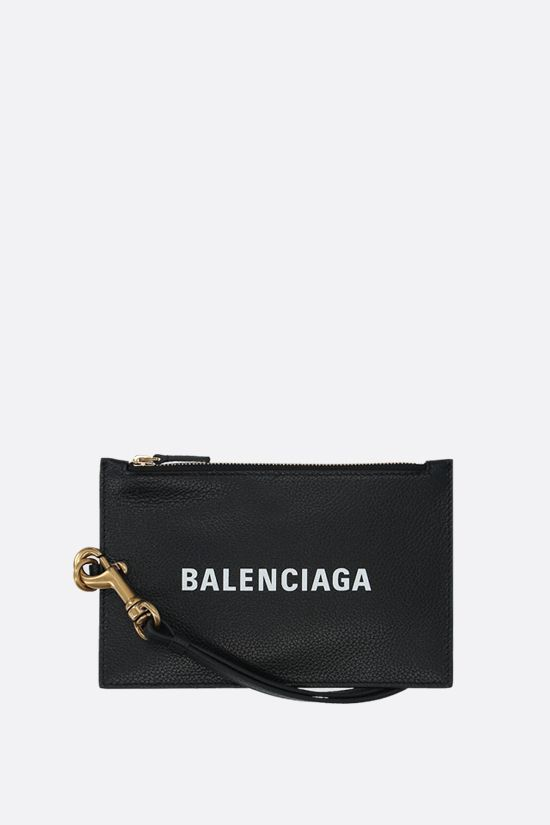 BALENCIAGA: Cash grainy leather mini pouch Color Black_1