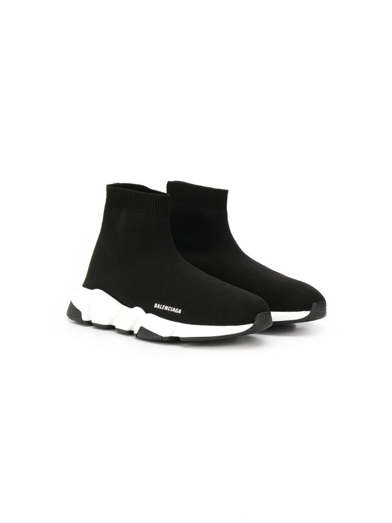 BALENCIAGA KIDS: Speed stretch knit trainers Color Black_1
