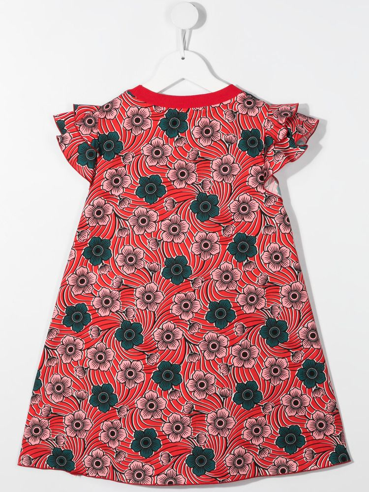 MONCLER KIDS: floral print cotton short dress Color Red_2