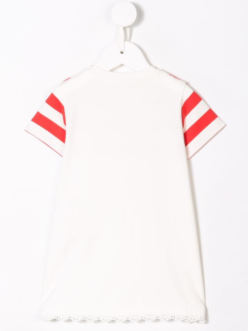 MONCLER KIDS: striped jersey short dress Color White_2