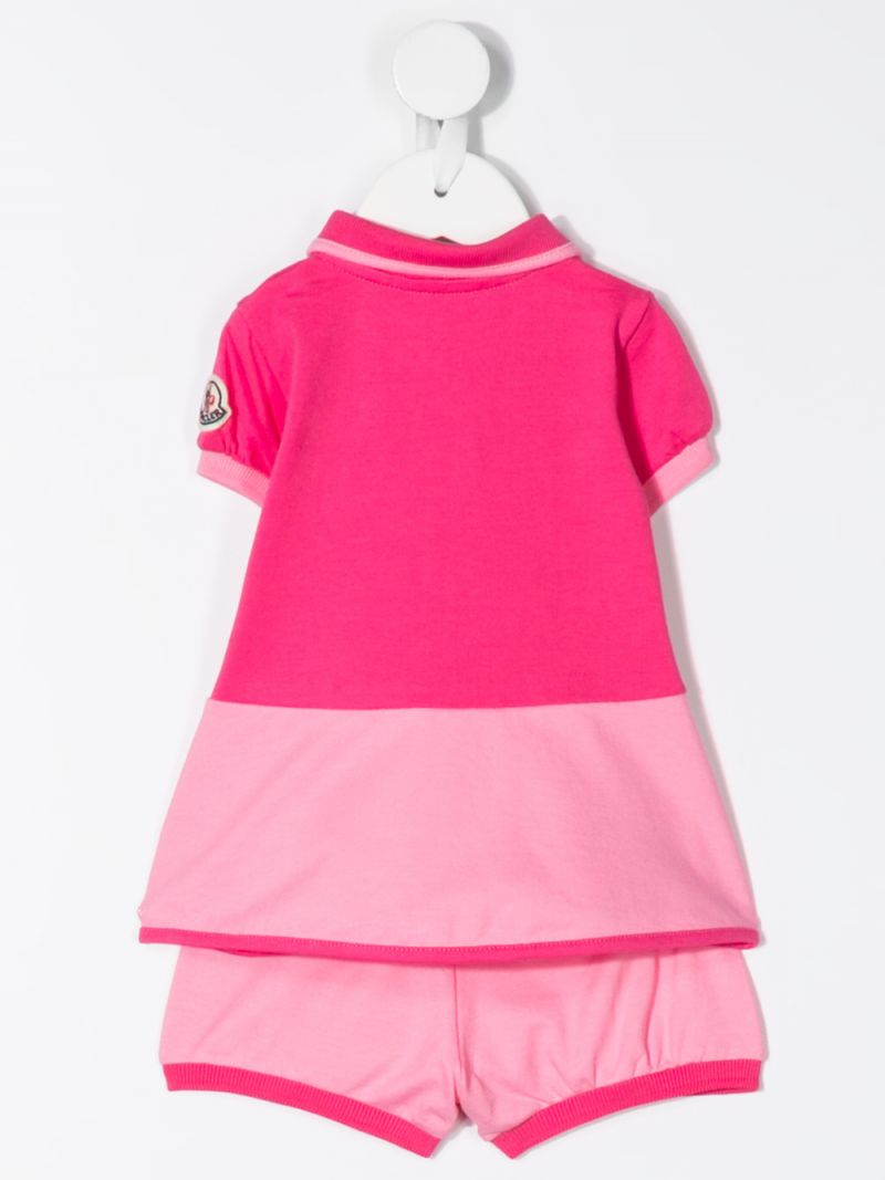 MONCLER KIDS: abito in piquet stretch con bloomers Colore Rosa_2
