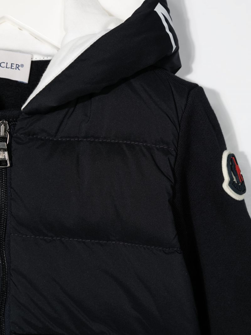 MONCLER KIDS: logo-detailed nylon and jersey down jacket Color Blue_2