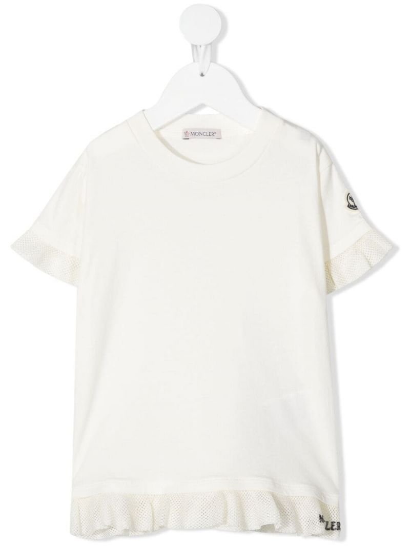 MONCLER KIDS: ruches-detailed cotton t-shirt Color White_1
