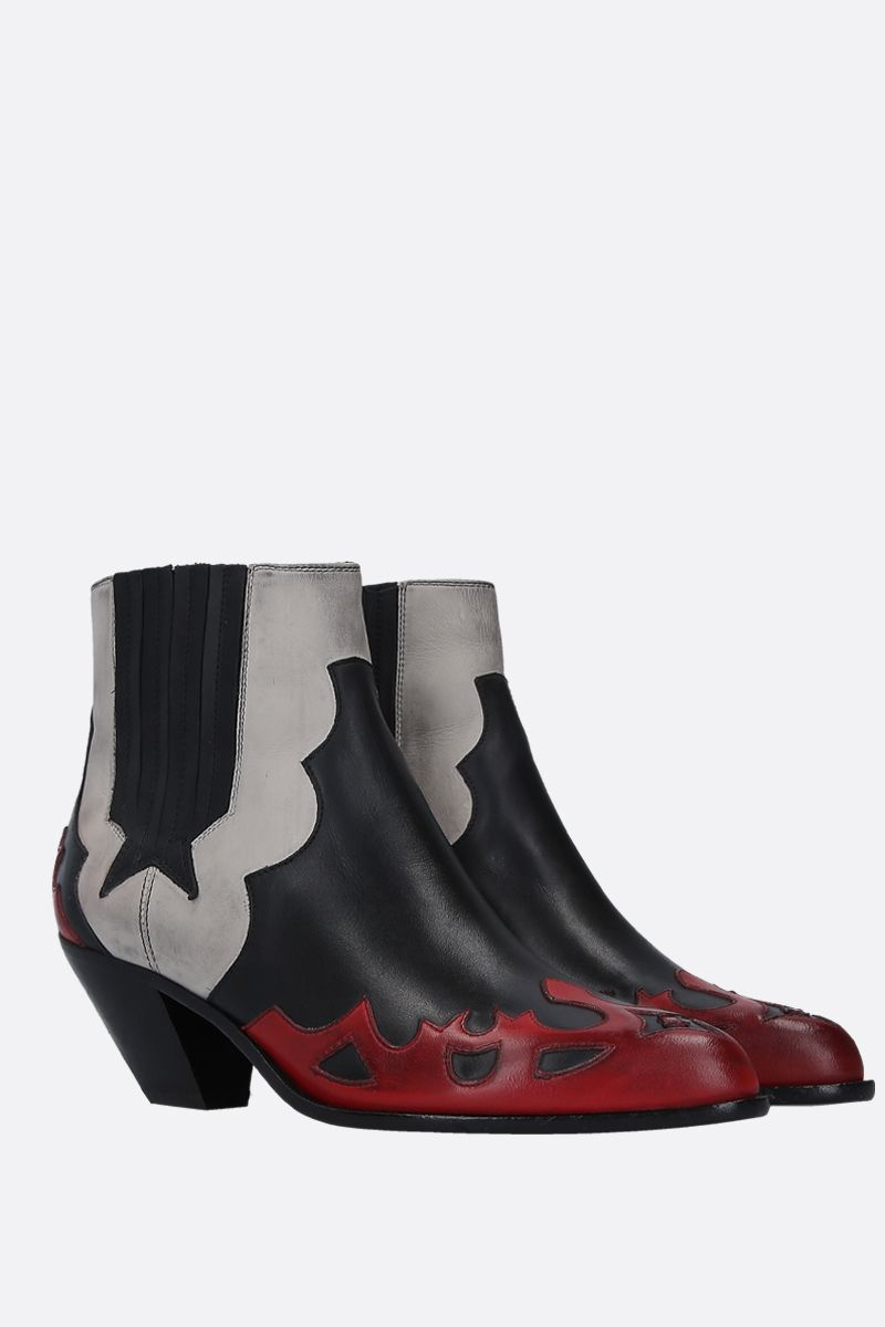 GOLDEN GOOSE DELUXE BRAND: Sunset Flowers western boots in vintage leather Color Multicolor_2