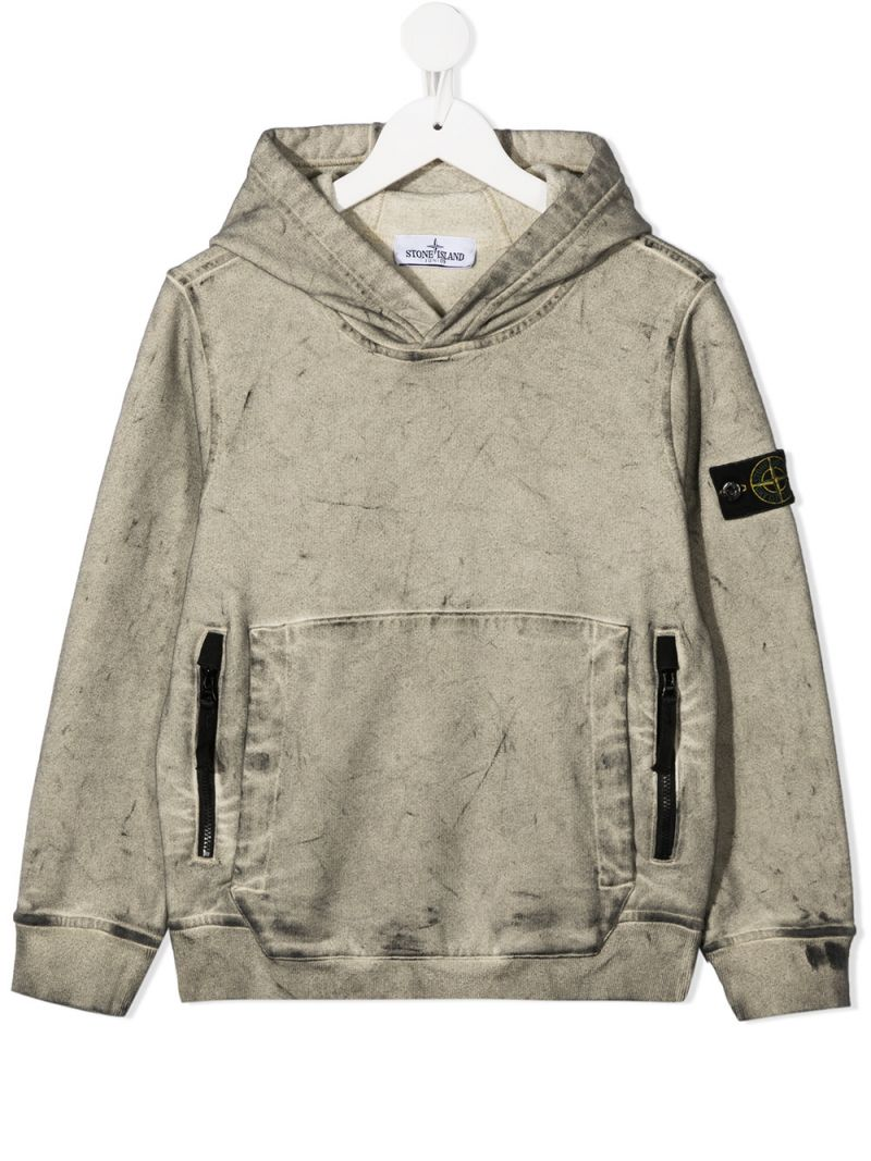 STONE ISLAND JUNIOR: felpa in cotone con badge logo Colore Neutro_1