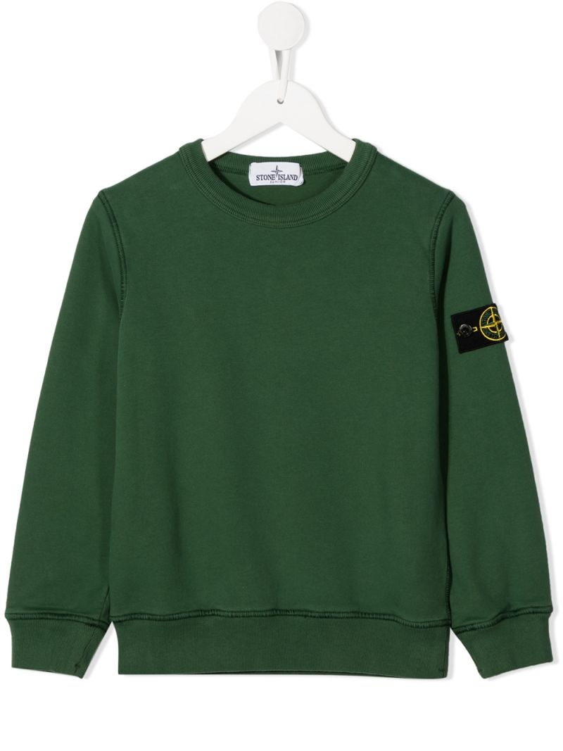 STONE ISLAND JUNIOR: logo badge-detailed cotton sweatshirt Color Pink_1