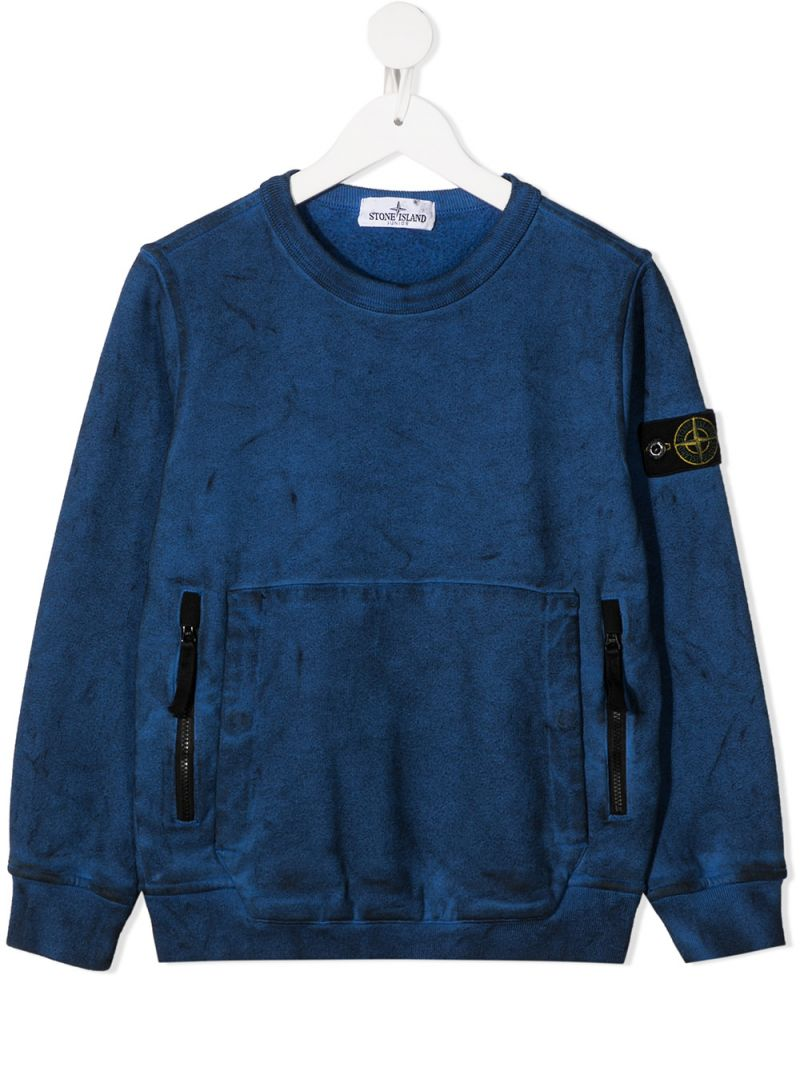 STONE ISLAND JUNIOR: logo badge-detailed cotton sweatshirt Color Purple_1