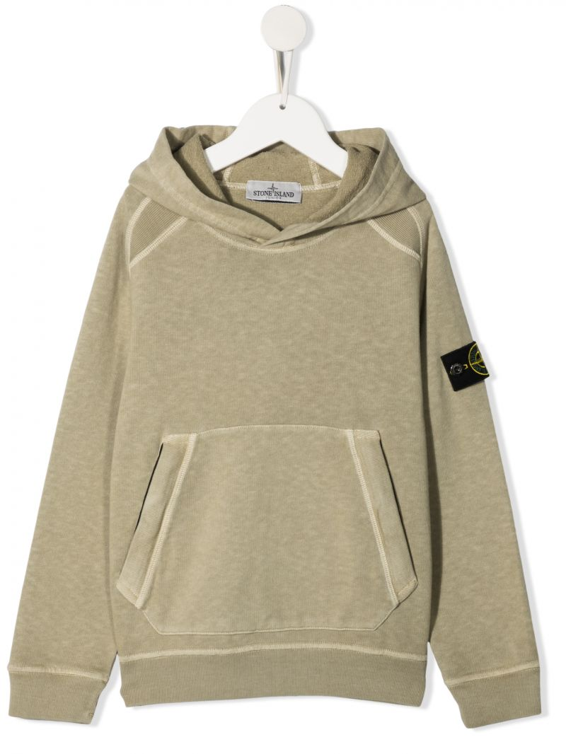 STONE ISLAND JUNIOR: logo patch cotton hoodie Color Brown_1