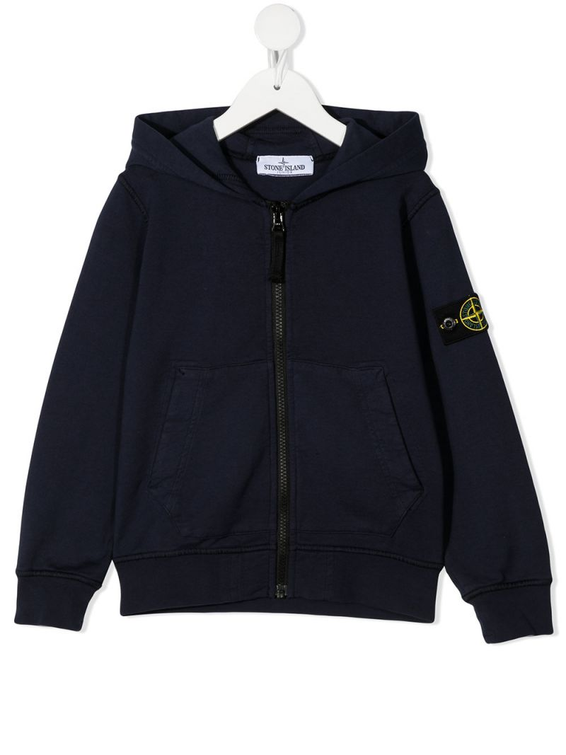 STONE ISLAND JUNIOR: logo badge-detailed cotton full-zip hoodie Color Blue_1