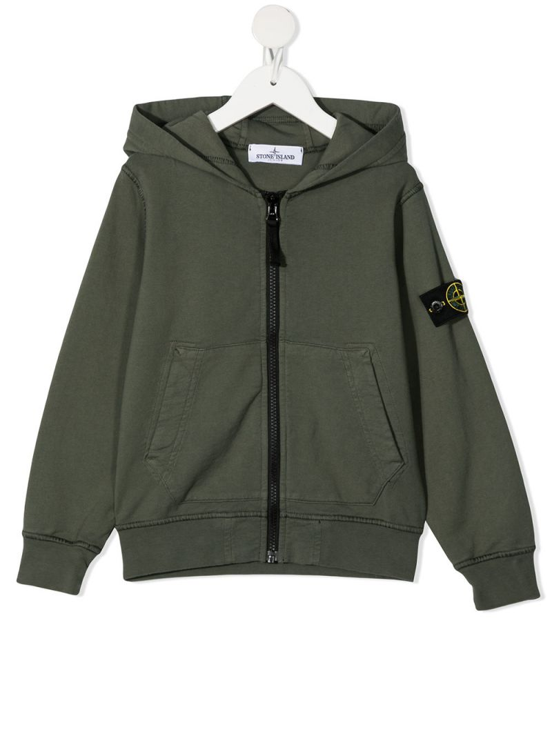 STONE ISLAND JUNIOR: logo badge-detailed cotton full-zip hoodie Color Multicolor_1