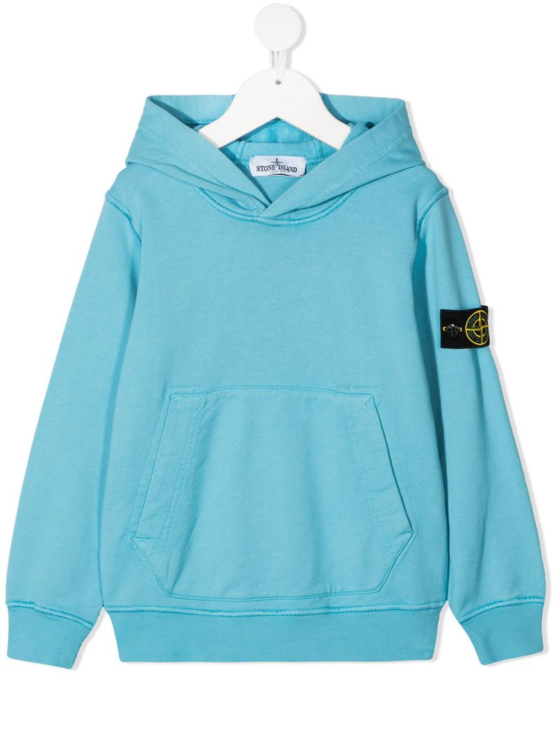 STONE ISLAND JUNIOR: logo badge-detailed cotton hoodie Color Blue_1