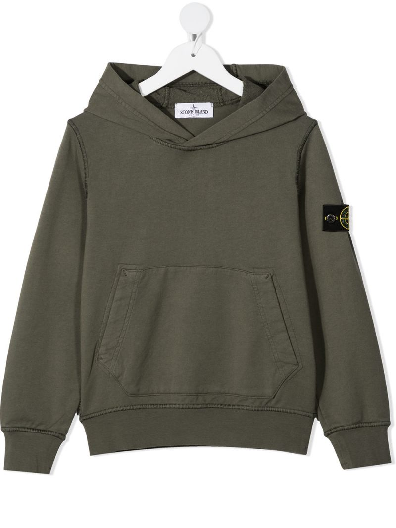 STONE ISLAND JUNIOR: logo badge-detailed cotton hoodie Color Multicolor_1