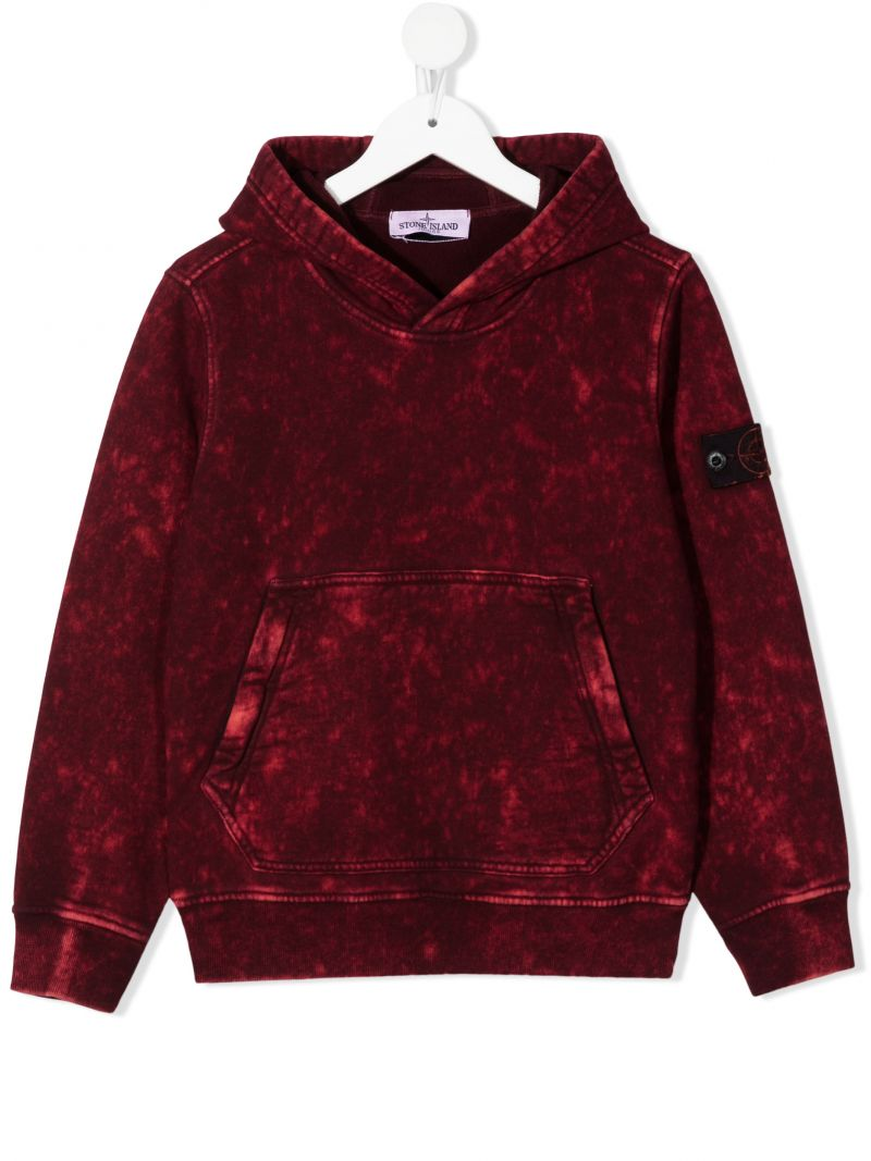 STONE ISLAND JUNIOR: logo badge-detailed distressed-effect cotton hoodie Color Red_1