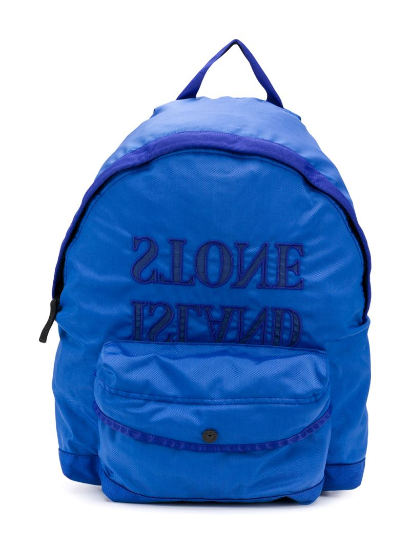 STONE ISLAND JUNIOR: logo embroidered nylon backpack Color Purple_1
