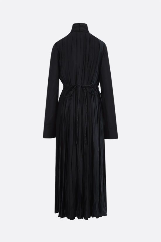 JIL SANDER: pleated twill long wrap dress Color Black_2
