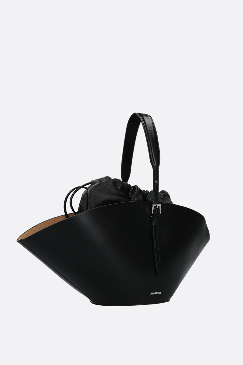 JIL SANDER: Sombrero small top handle bag in smooth leather Color Black_2