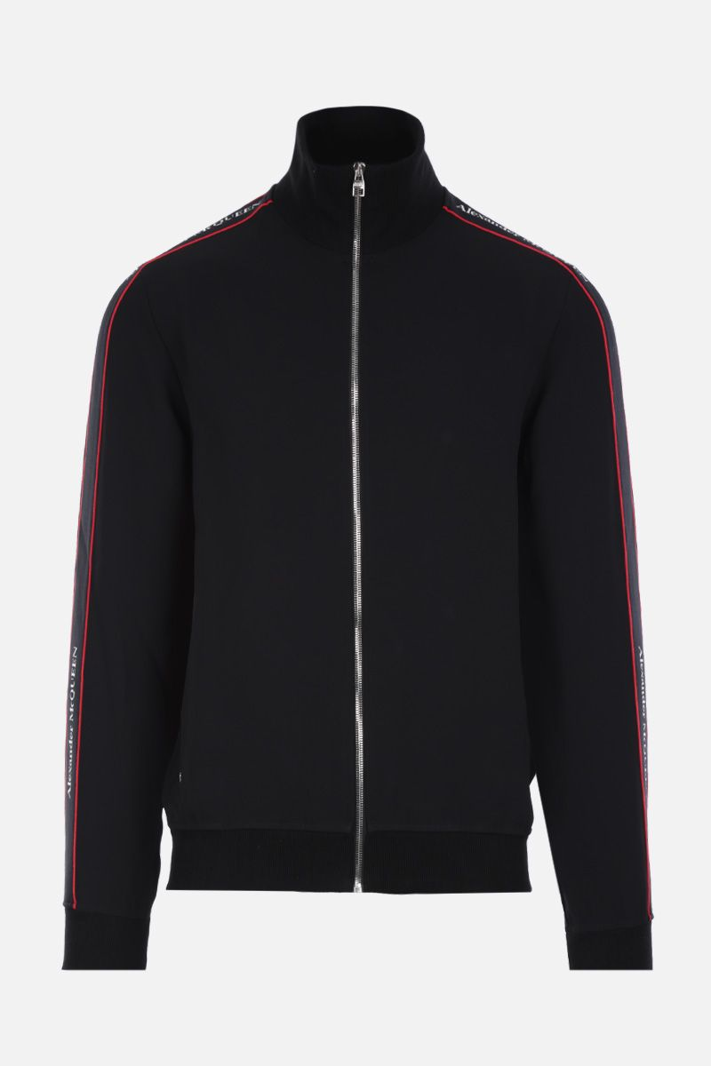 ALEXANDER McQUEEN: full-zip sweatshirt in technical jersey with logoed bands Color Black_1