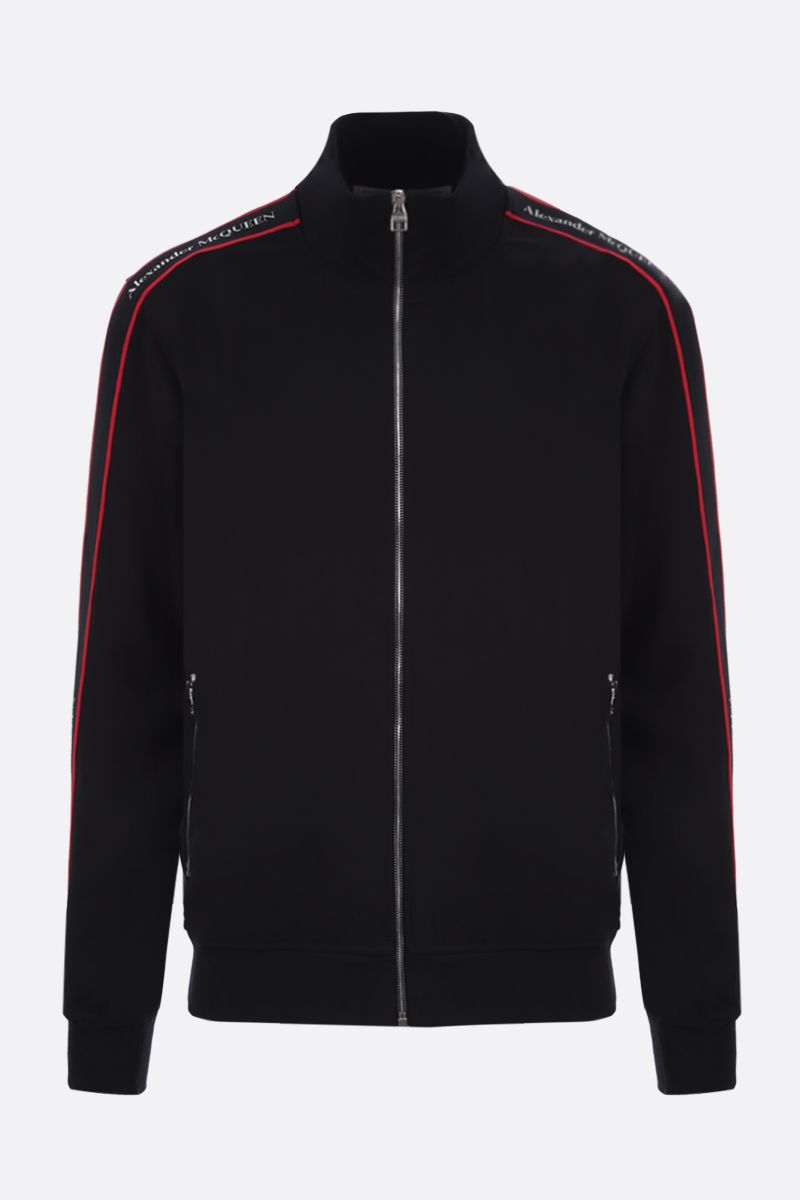 ALEXANDER McQUEEN: logoed band-detailed jersey full-zip sweatshirt Color Black_1