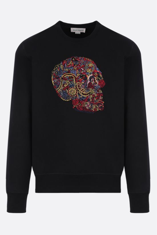 ALEXANDER McQUEEN: Skull embroidered cotton sweatshirt Color Black_1