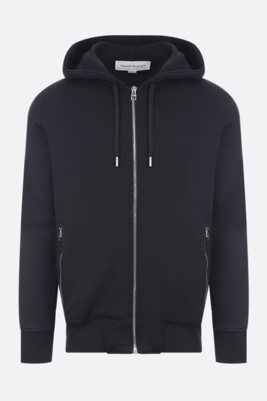 ALEXANDER McQUEEN: logo-detailed full-zip cotton hoodie Color Black_1