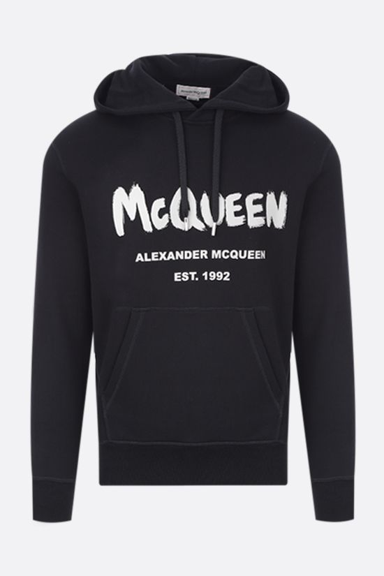 ALEXANDER McQUEEN: felpa McQueen Graffiti in cotone Color Black_1