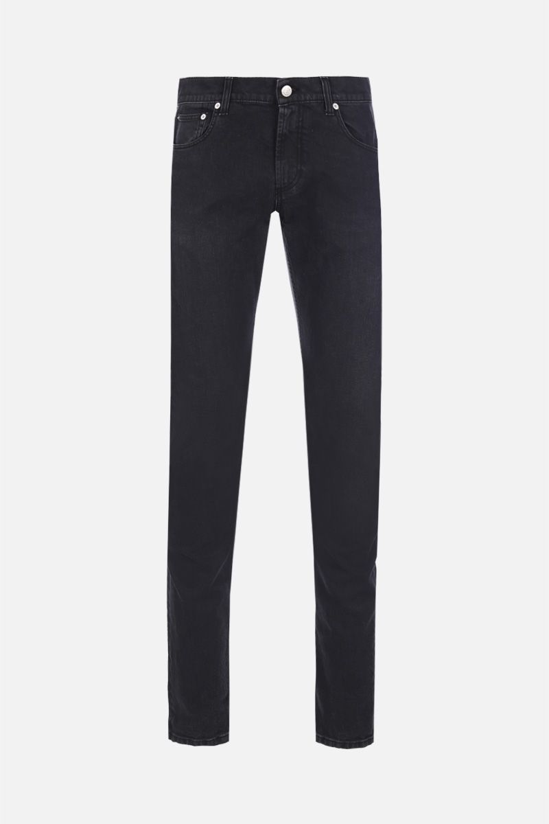 ALEXANDER McQUEEN: logo embroidered skinny jeans Color Black_1