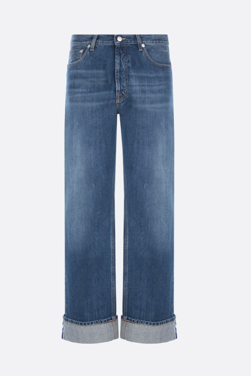 ALEXANDER McQUEEN: oversized turn-up jeans Color Blue_1