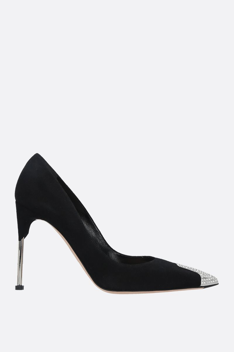 ALEXANDER McQUEEN: crystal-detailed velvet suede pumps Color Black_1