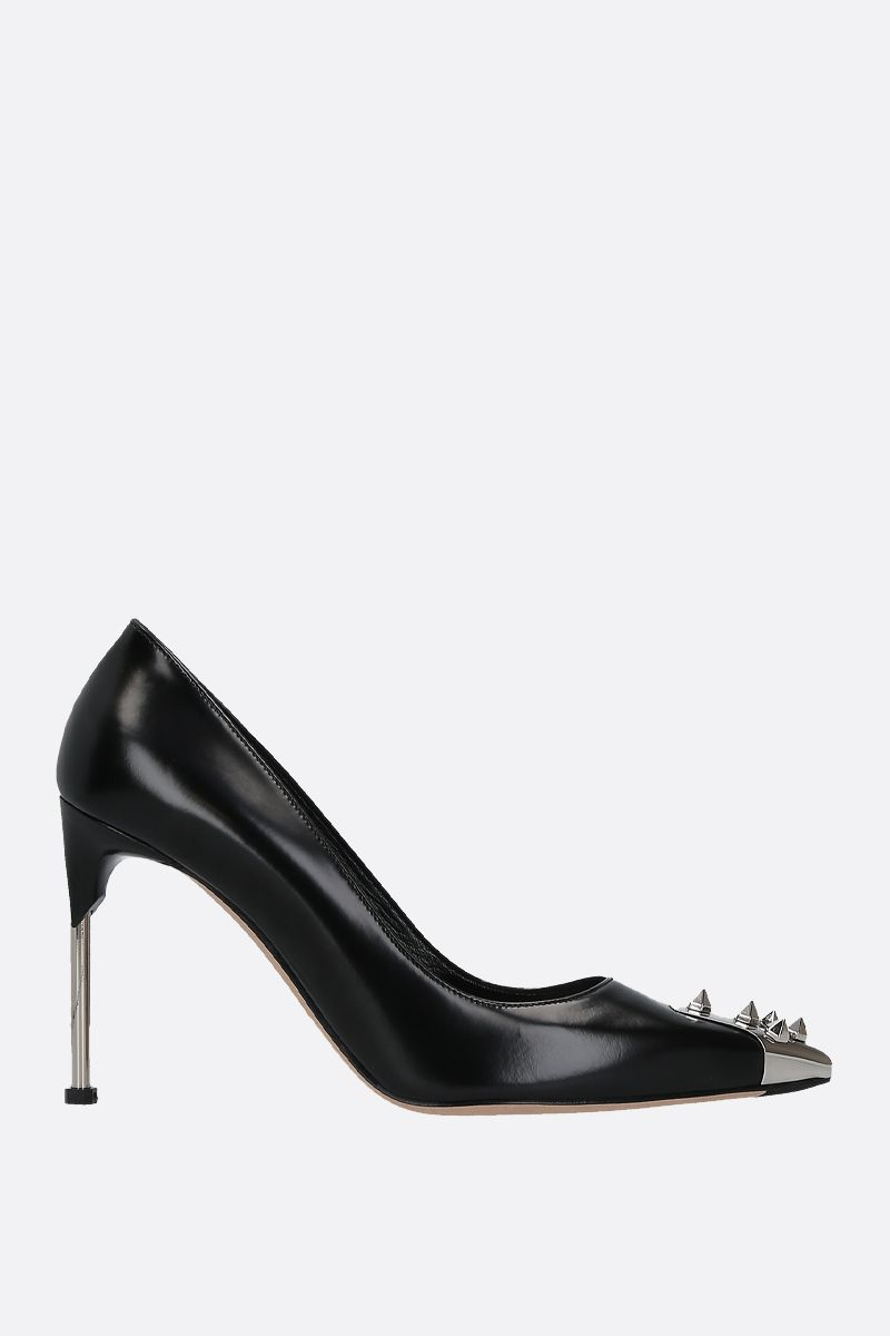 ALEXANDER McQUEEN: punk stud-detailed shiny leather pumps Color Black_1