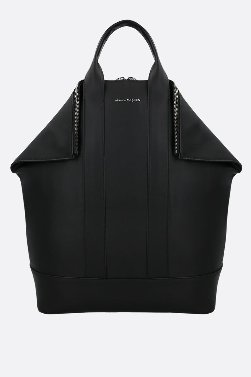 ALEXANDER McQUEEN: De Manta smooth leather backpack Color Black_1