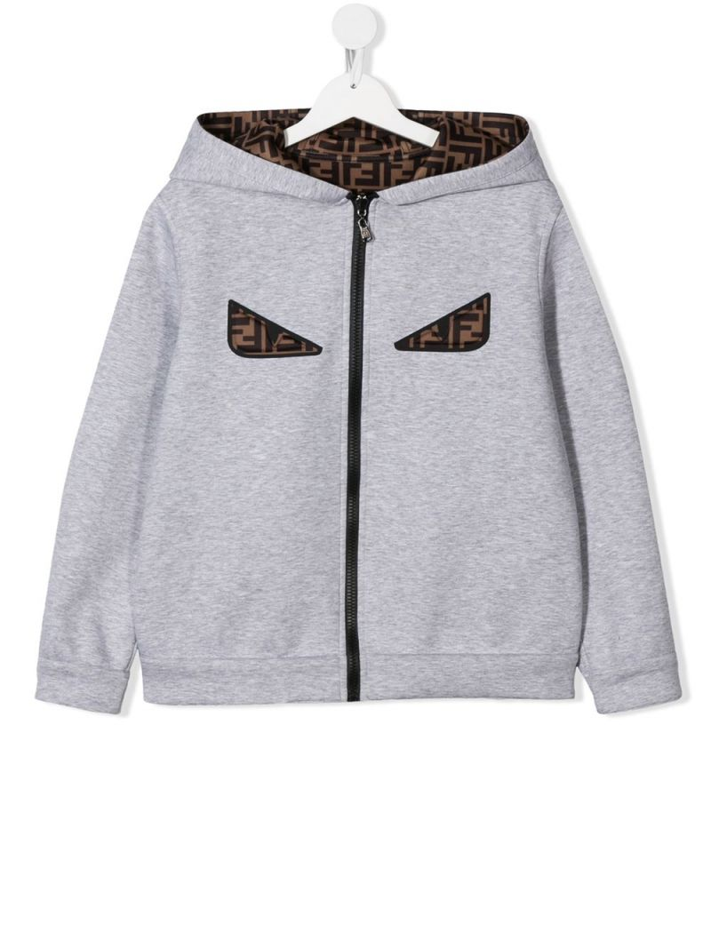 FENDI KIDS: neoprene reversible full-zip jacket Color Grey_1
