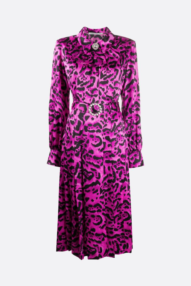 ALESSANDRA RICH: leopard print silk midi dress Color Pink_1