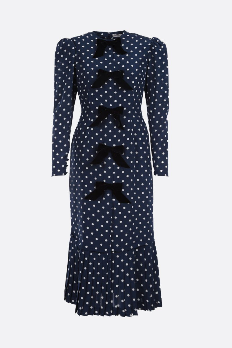 ALESSANDRA RICH: polka-dot silk midi dress Color Blue_1