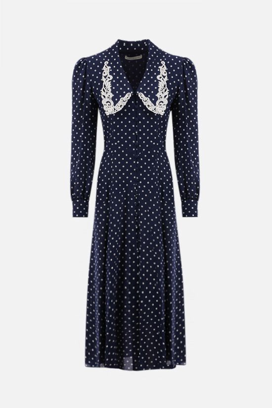 ALESSANDRA RICH: lace collar-detailed silk shirt dress Color Blue_1