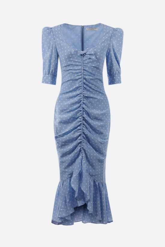 ALESSANDRA RICH: polka dot gathered silk dress Color Blue_1