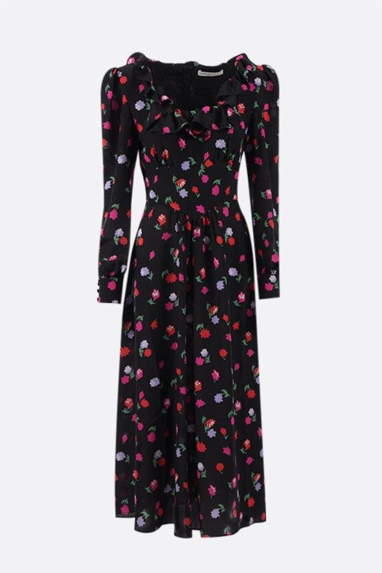 ALESSANDRA RICH: floral print silk midi dress Color Black_1