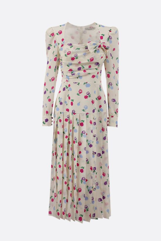 ALESSANDRA RICH: floral print pleated silk dress Color White_1