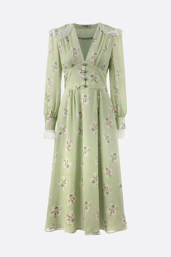 ALESSANDRA RICH: floral print silk long dress Color Green_1