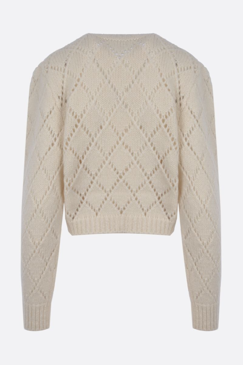 ALESSANDRA RICH: floral embroidered alpaca blend cropped cardigan Color White_2