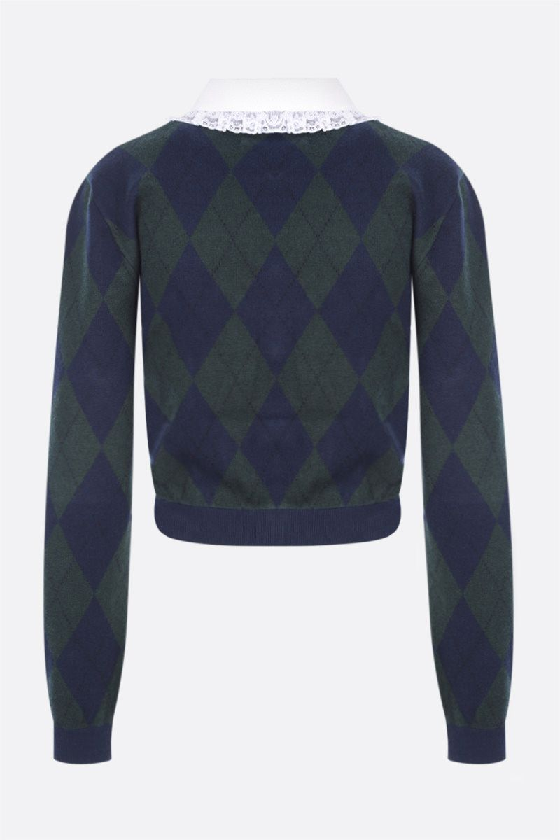 ALESSANDRA RICH: argyle mohair blend cropped cardigan Color Green_2