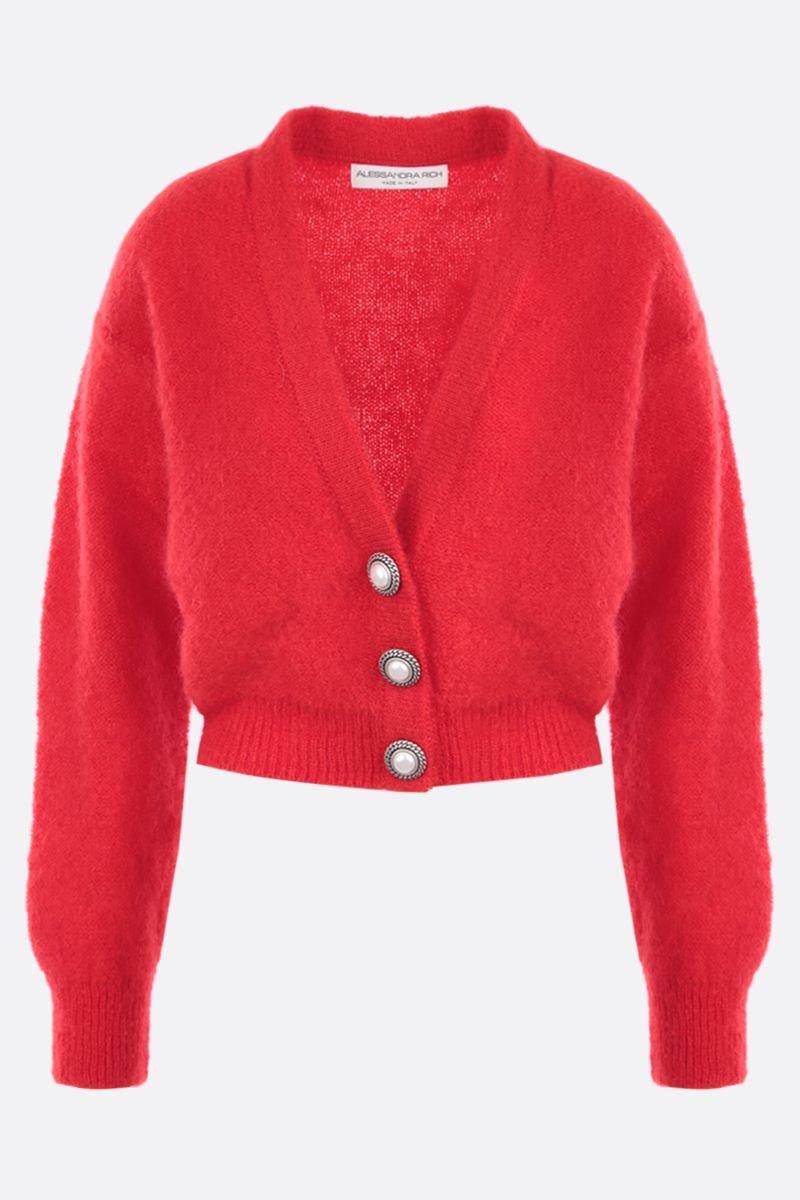 ALESSANDRA RICH: cropped mohair blend cardigan Color Red_1