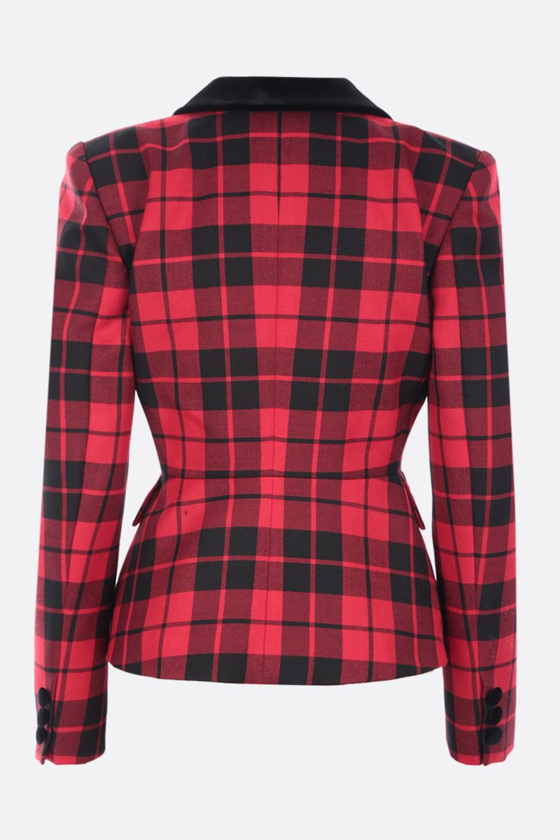 ALESSANDRA RICH: single-breasted check wool jacket Color Red_2