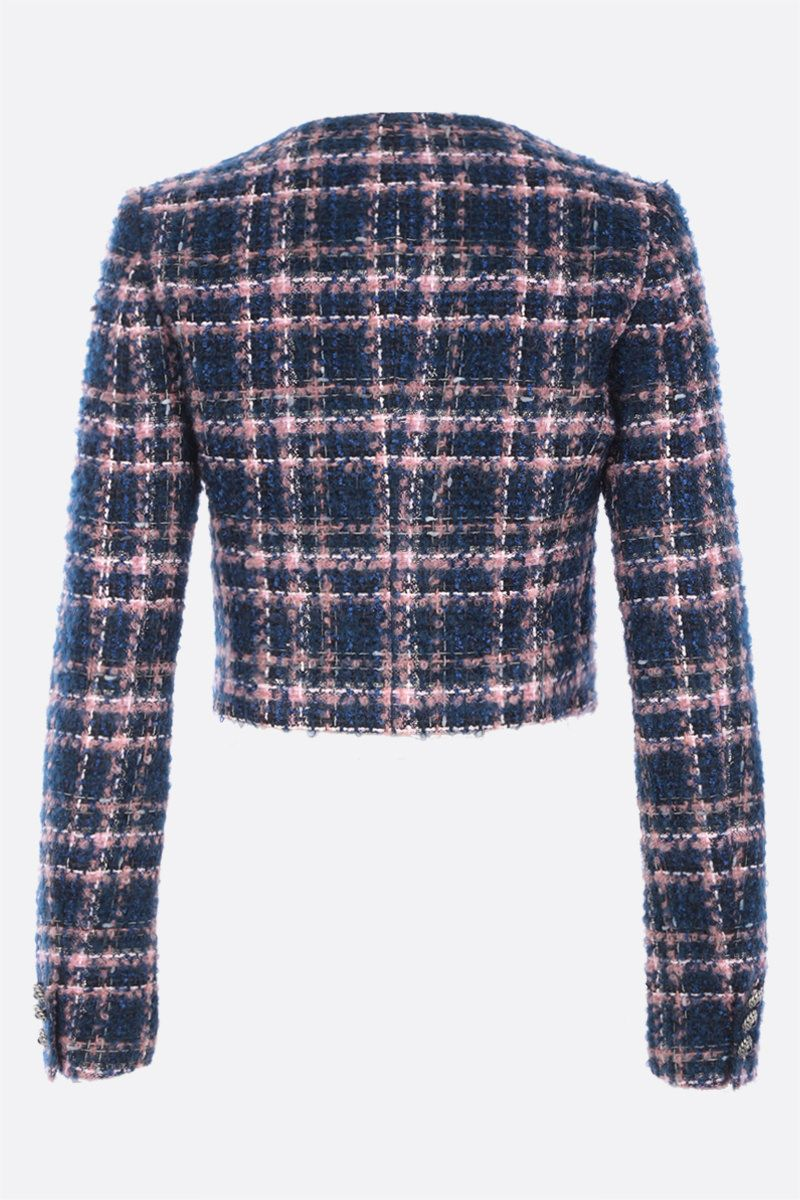ALESSANDRA RICH: single-breasted tweed cropped jacket Color Blue_2