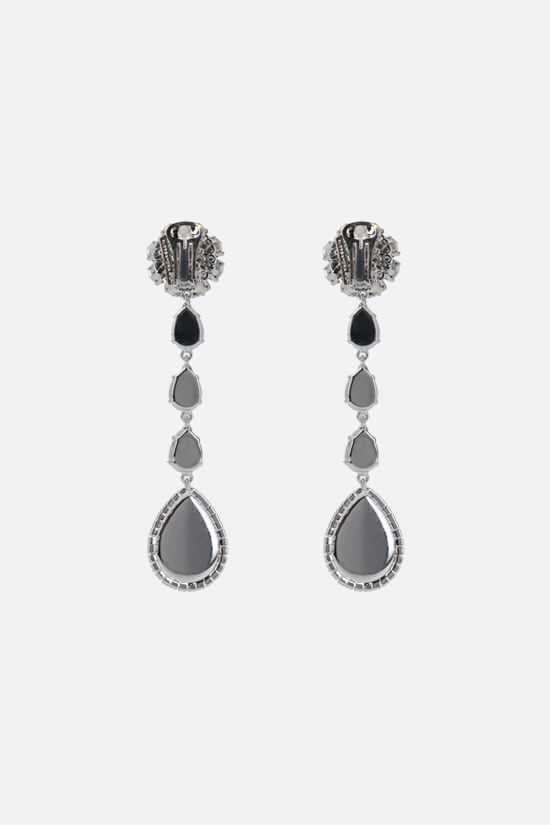 ALESSANDRA RICH: long crystal earrings with pearl drop Color Neutral_2