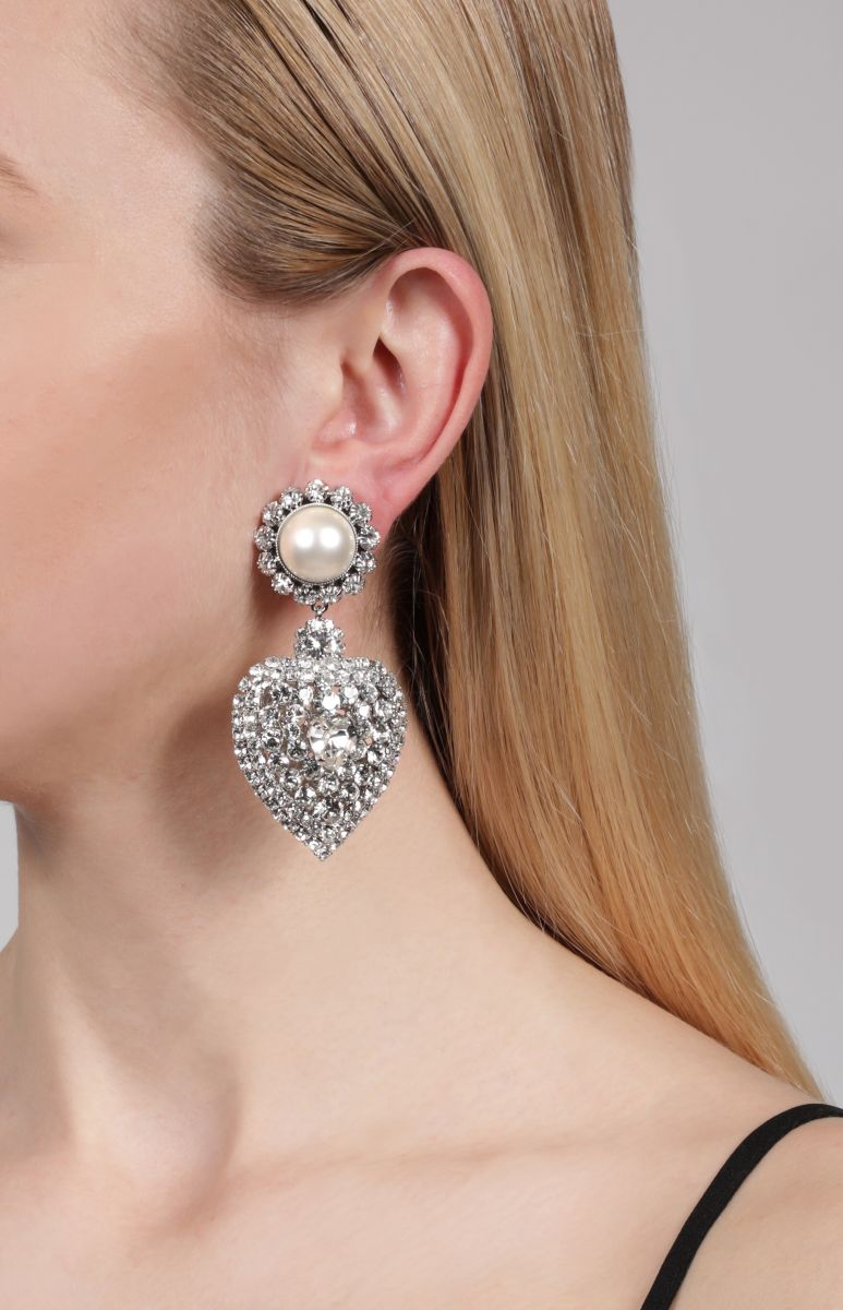 ALESSANDRA RICH: crystal heart earrings with pearl clip Color Neutral_2
