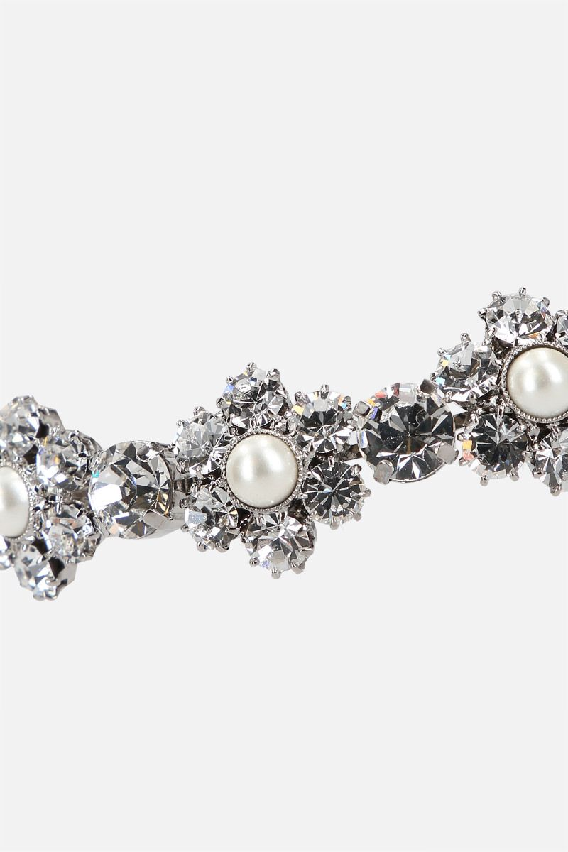 ALESSANDRA RICH: Daisy brass choker with crystals and pearls_2