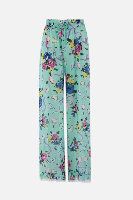 ALESSANDRA RICH: Floral Ribbon print crepe de chine palazzo pants Color Green_1